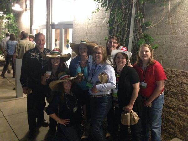 This photo is full of very well-known, very important ag bloggers ...and then there is me, the one at the bottom extremely giddy to be sporting an authentic sombrero.