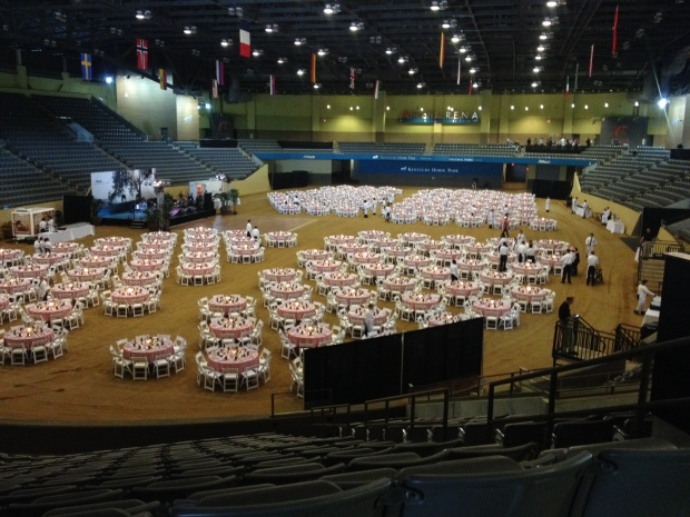 The table setup in the arena during Alltech night.
